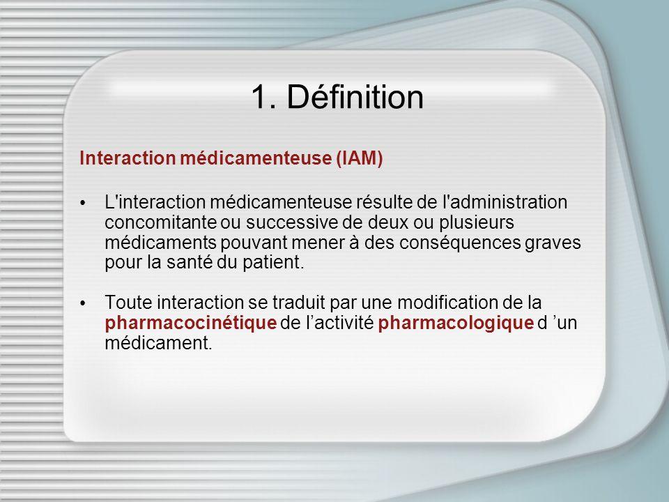 1. Définition Interaction médicamenteuse (IAM) L'interaction médicamenteuse résulte de l'administration concomitante ou successive de deux ou plusieur