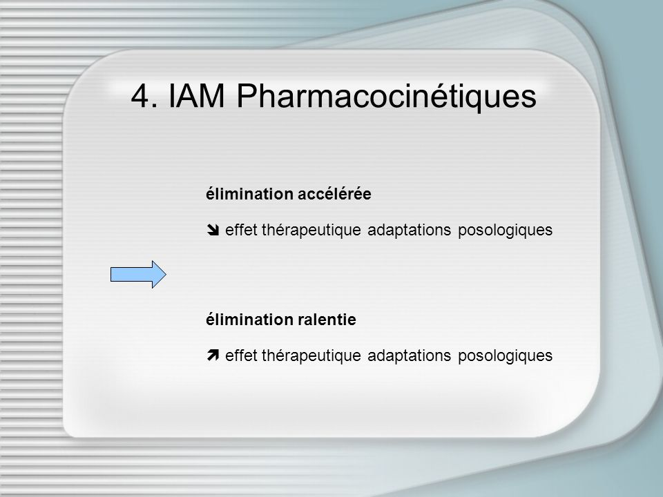 4. IAM Pharmacocinétiques élimination accélérée effet thérapeutique adaptations posologiques élimination ralentie effet thérapeutique adaptations poso