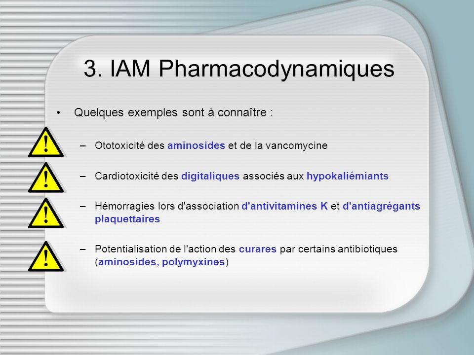 3. IAM Pharmacodynamiques Quelques exemples sont à connaître : –Ototoxicité des aminosides et de la vancomycine –Cardiotoxicité des digitaliques assoc