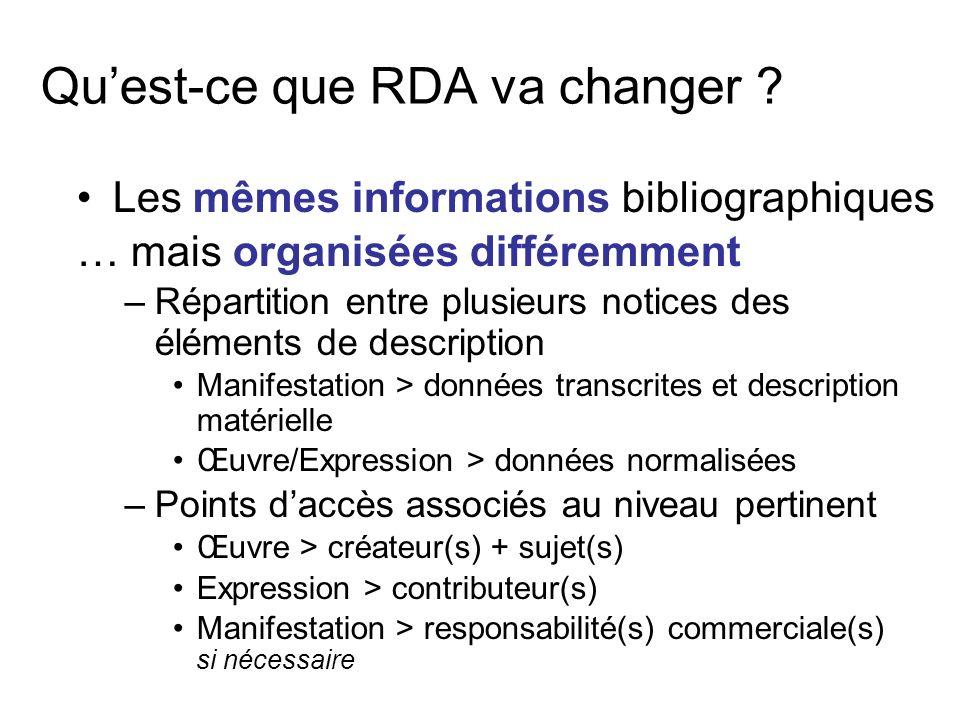 Quest-ce que RDA va changer ? Les mêmes informations bibliographiques … mais organisées différemment –R–Répartition entre plusieurs notices des élémen