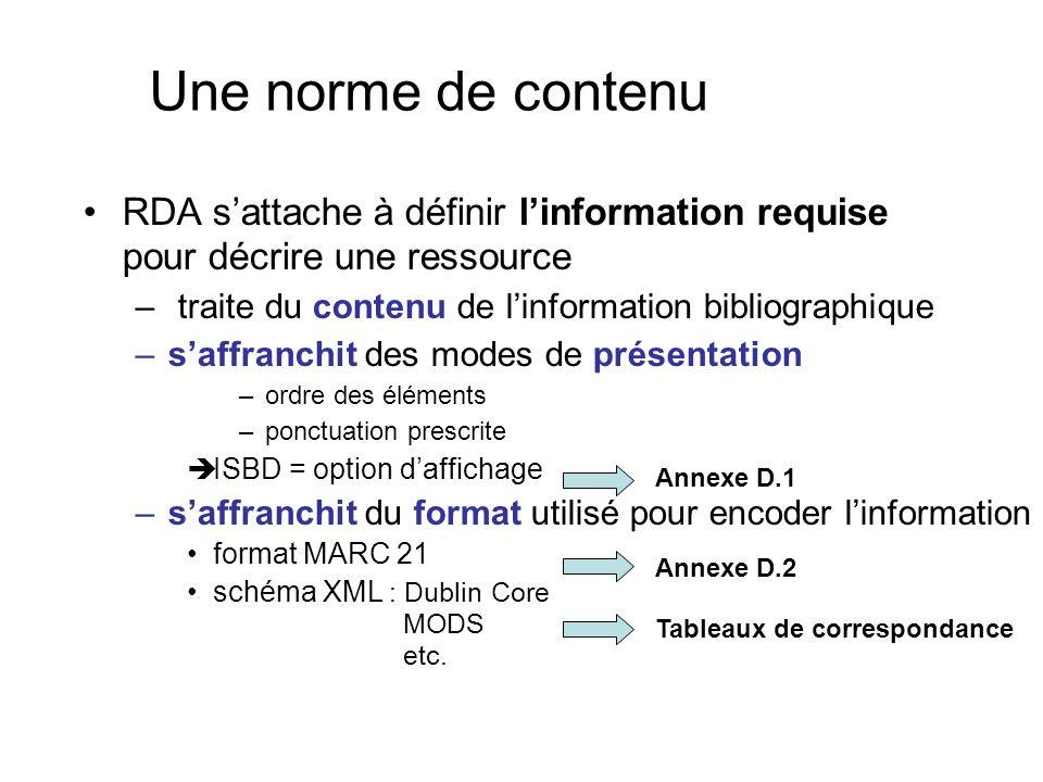 Une norme de contenu RDA sattache à définir linformation requise pour décrire une ressource – traite du contenu de linformation bibliographique –saffr