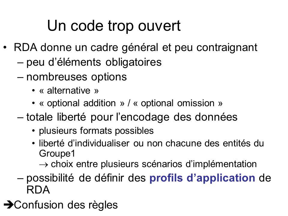 Un code trop ouvert RDA donne un cadre général et peu contraignant –peu déléments obligatoires –nombreuses options « alternative » « optional addition