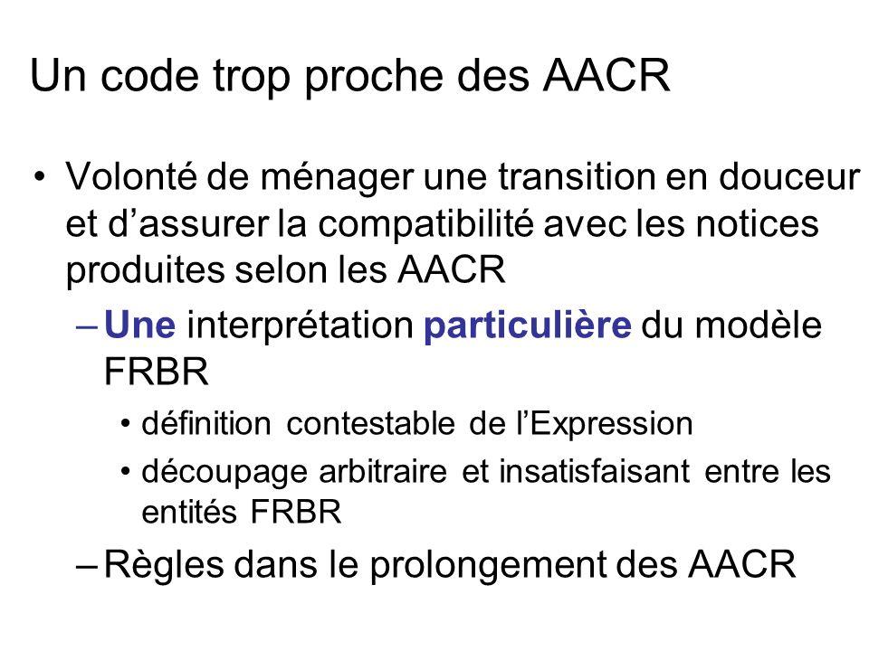 Un code trop proche des AACR Volonté de ménager une transition en douceur et dassurer la compatibilité avec les notices produites selon les AACR –Une
