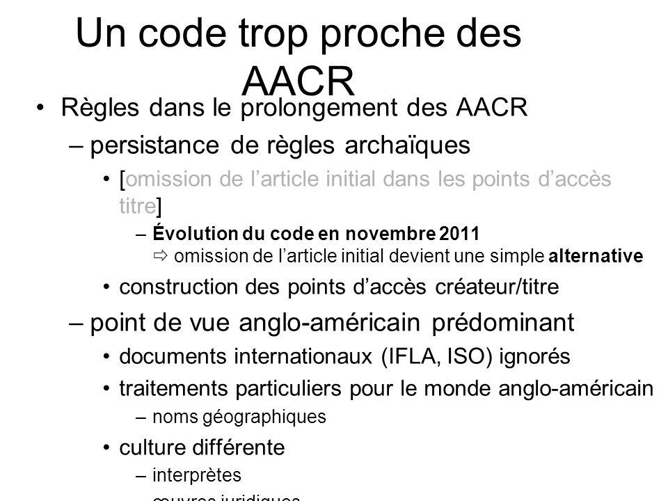 Règles dans le prolongement des AACR –persistance de règles archaïques [omission de larticle initial dans les points daccès titre] –Évolution du code