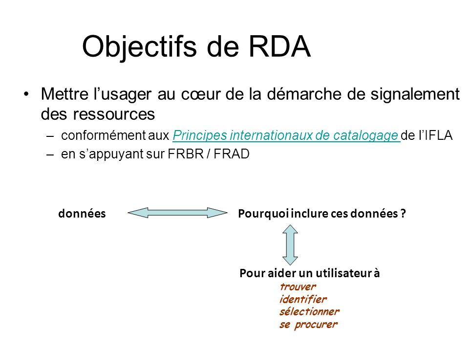 Objectifs de RDA Faciliter la recherche dinformation dans le contexte des technologies actuelles –Être dans le Web (sortir les données des silos) –Ne fournir que les données pertinentes pour les besoins dun utilisateur Modèles FRBR/FRAD au cœur des règles de catalogage –éclatement de linformation bibliographique selon les entités FRBR créer un réseau de données interconnectées refléter les différents niveaux utiles à différents utilisateurs –ouvre la voie à la mutualisation des données