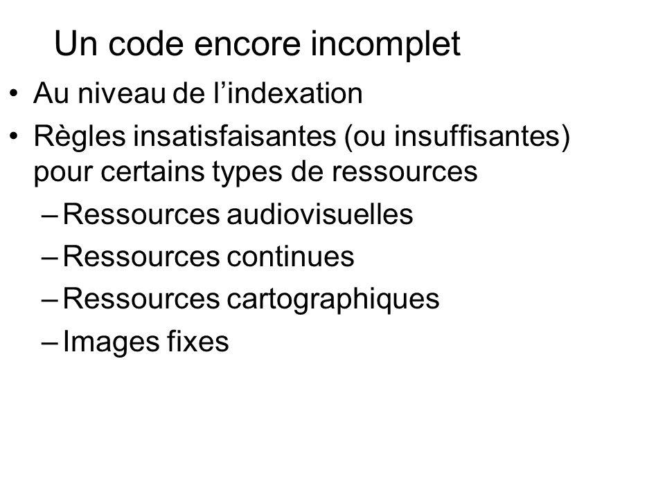 Un code encore incomplet Au niveau de lindexation Règles insatisfaisantes (ou insuffisantes) pour certains types de ressources –Ressources audiovisuel