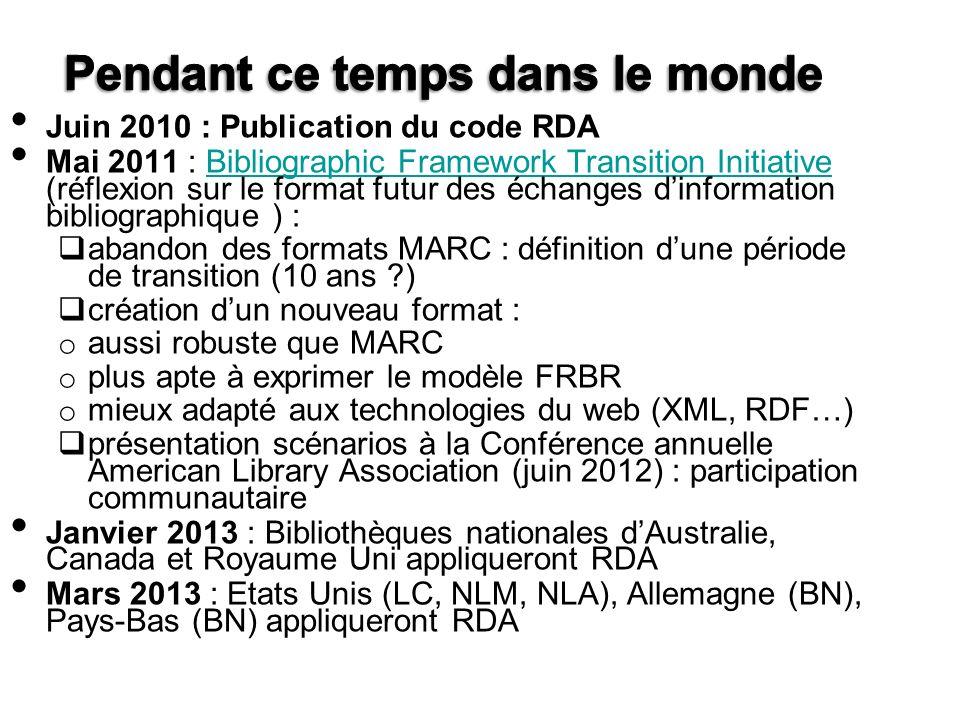 Juin 2010 : Publication du code RDA Mai 2011 : Bibliographic Framework Transition Initiative (réflexion sur le format futur des échanges dinformation