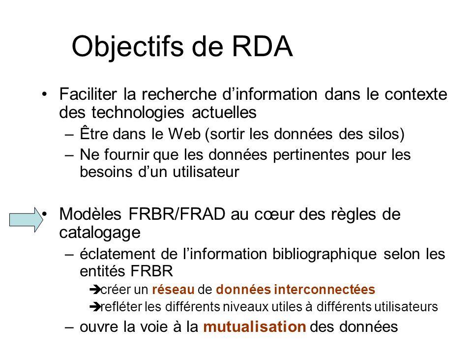 Objectifs de RDA Faciliter la recherche dinformation dans le contexte des technologies actuelles –Être dans le Web (sortir les données des silos) –Ne