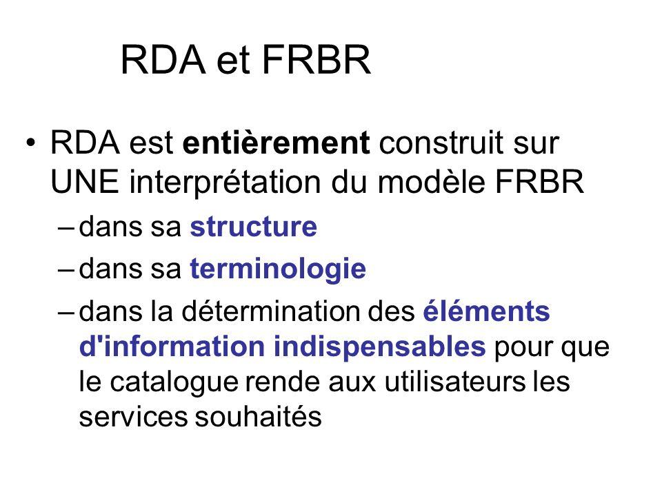 RDA et FRBR RDA est entièrement construit sur UNE interprétation du modèle FRBR –d–dans sa structure –d–dans sa terminologie –d–dans la détermination