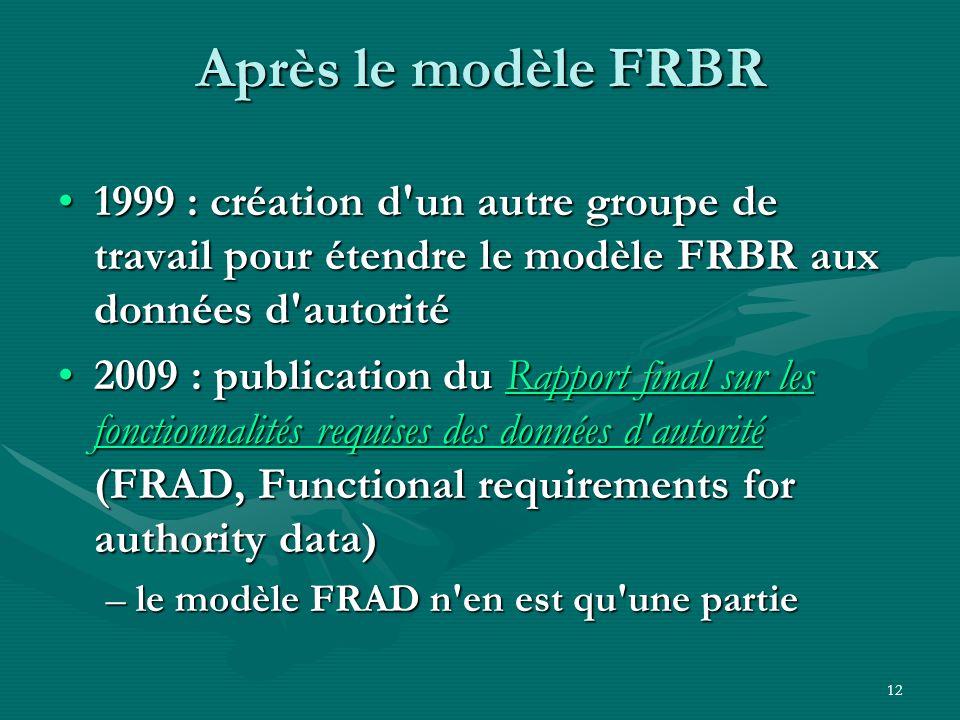 12 Après le modèle FRBR 1999 : création d'un autre groupe de travail pour étendre le modèle FRBR aux données d'autorité1999 : création d'un autre grou