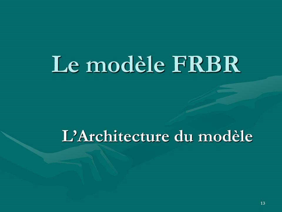 13 Le modèle FRBR LArchitecture du modèle