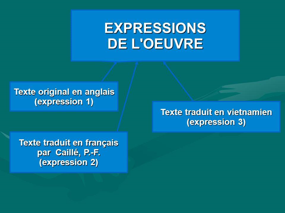 EXPRESSIONS DE L'OEUVRE Texte original en anglais (expression 1) Texte traduit en français par Caillé, P.-F. (expression 2) Texte traduit en vietnamie