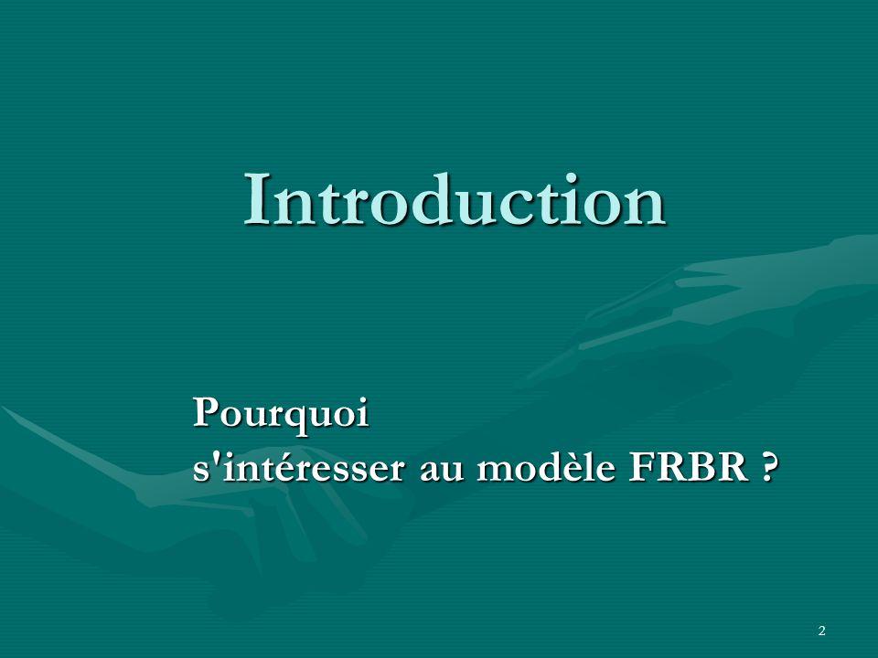 2 Introduction Pourquoi s'intéresser au modèle FRBR ?
