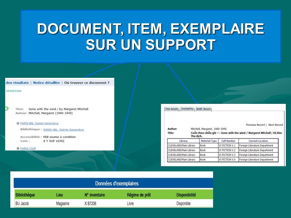 DOCUMENT, ITEM, EXEMPLAIRE SUR UN SUPPORT