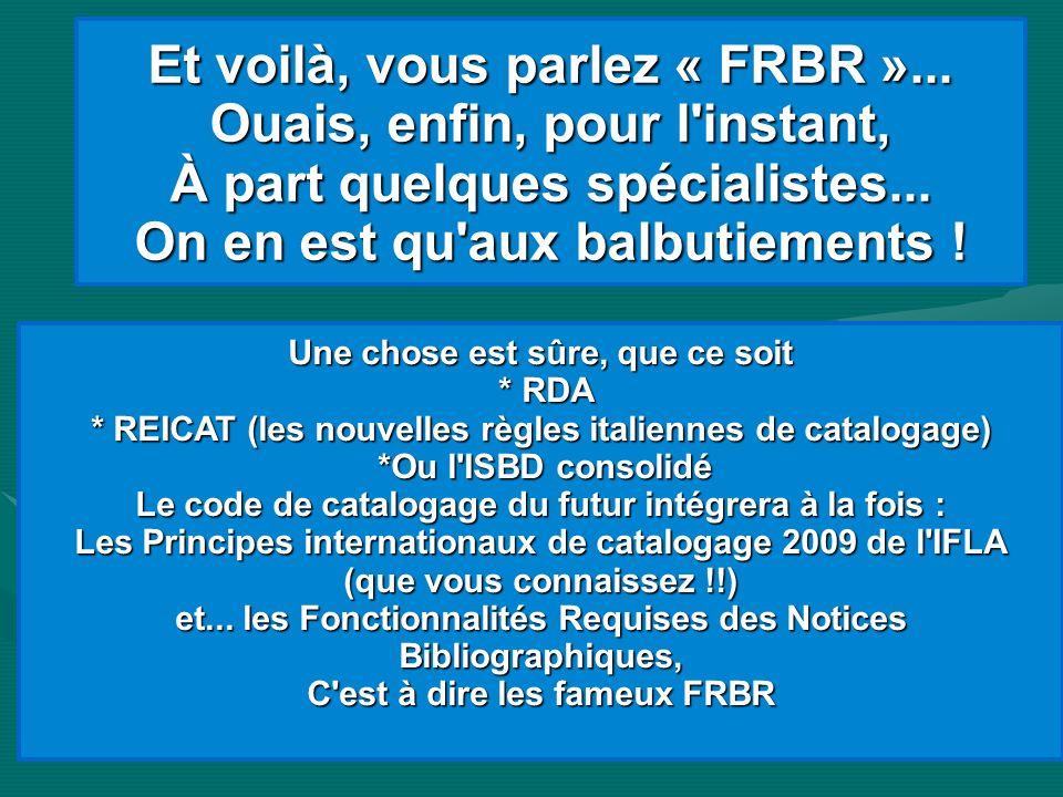 Et voilà, vous parlez « FRBR »... Ouais, enfin, pour l'instant, À part quelques spécialistes... On en est qu'aux balbutiements ! Une chose est sûre, q