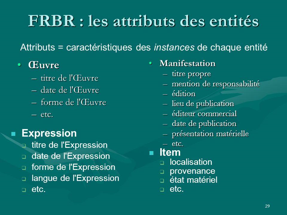 29 FRBR : les attributs des entités ŒuvreŒuvre –titre de l'Œuvre –date de l'Œuvre –forme de l'Œuvre –etc. ManifestationManifestation –titre propre –me