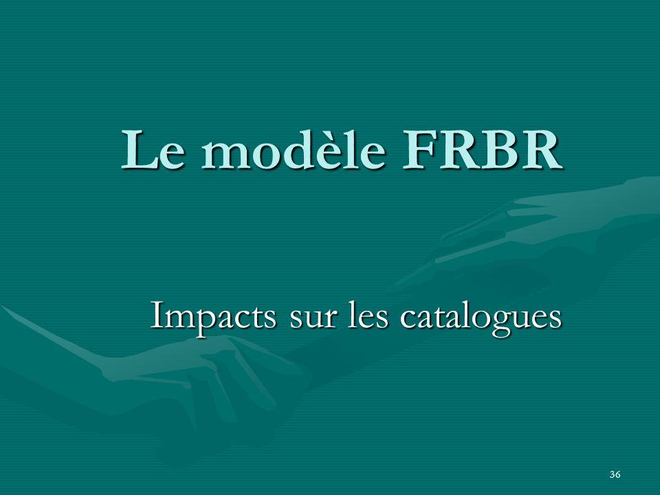 36 Le modèle FRBR Impacts sur les catalogues