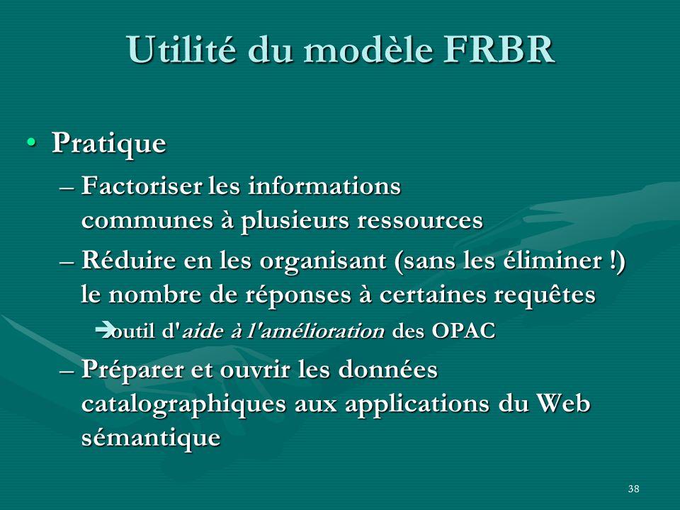 38 Utilité du modèle FRBR Pratique –F–F–F–Factoriser les informations communes à plusieurs ressources –R–R–R–Réduire en les organisant (sans les élimi