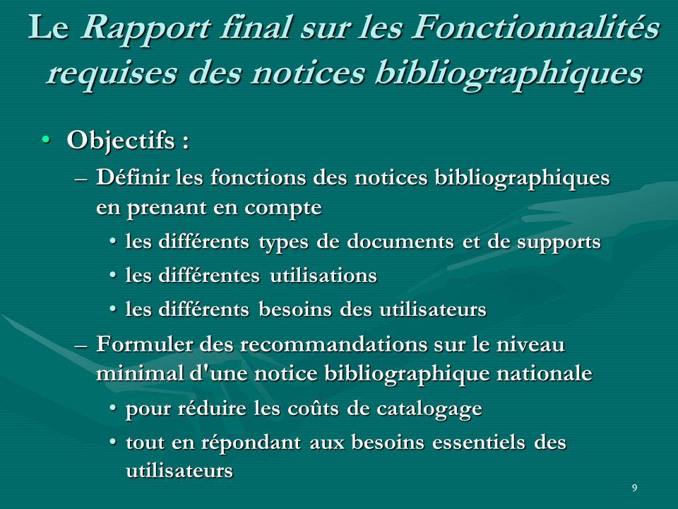 9 Le Rapport final sur les Fonctionnalités requises des notices bibliographiques Objectifs :Objectifs : –Définir les fonctions des notices bibliograph