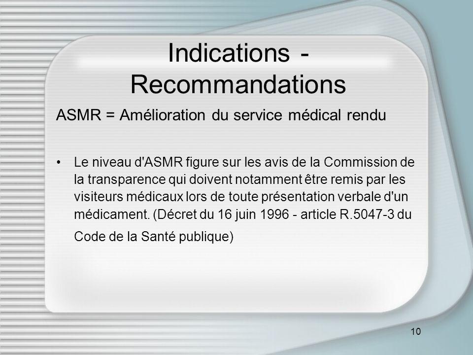 10 Indications - Recommandations ASMR = Amélioration du service médical rendu Le niveau d ASMR figure sur les avis de la Commission de la transparence qui doivent notamment être remis par les visiteurs médicaux lors de toute présentation verbale d un médicament.