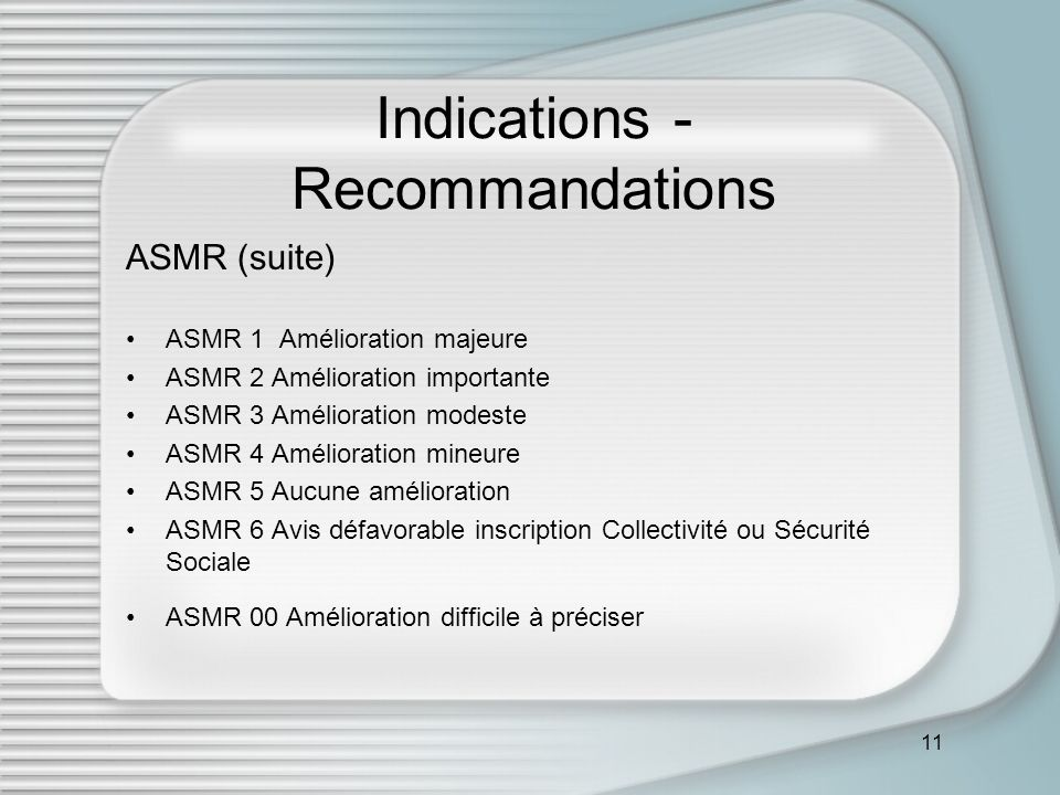 11 Indications - Recommandations ASMR (suite) ASMR 1 Amélioration majeure ASMR 2 Amélioration importante ASMR 3 Amélioration modeste ASMR 4 Améliorati