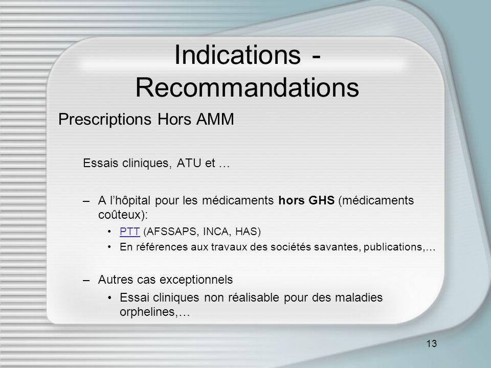13 Indications - Recommandations Prescriptions Hors AMM Essais cliniques, ATU et … –A lhôpital pour les médicaments hors GHS (médicaments coûteux): PT