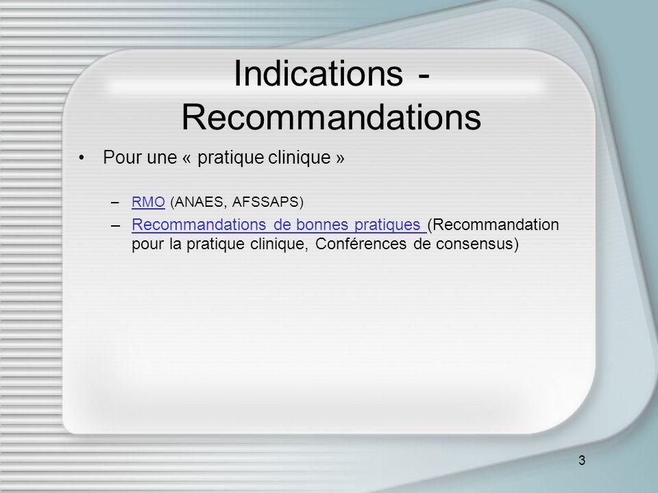 3 Indications - Recommandations Pour une « pratique clinique » –RMO (ANAES, AFSSAPS)RMO –Recommandations de bonnes pratiques (Recommandation pour la p