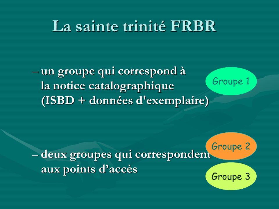 La sainte trinité FRBR –un groupe qui correspond à la notice catalographique (ISBD + données d'exemplaire) –deux groupes qui correspondent aux points