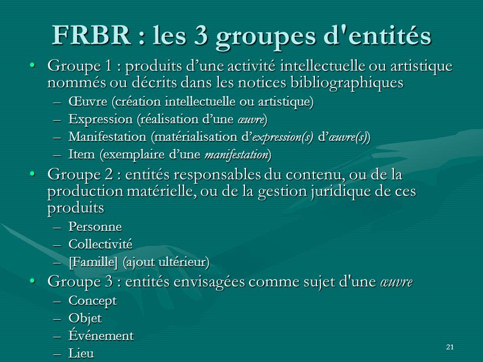 21 FRBR : les 3 groupes d'entités Groupe 1 : produits dune activité intellectuelle ou artistique nommés ou décrits dans les notices bibliographiquesGr