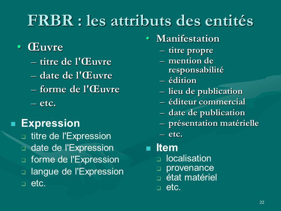22 FRBR : les attributs des entités ŒuvreŒuvre –titre de l'Œuvre –date de l'Œuvre –forme de l'Œuvre –etc. ManifestationManifestation –titre propre –me