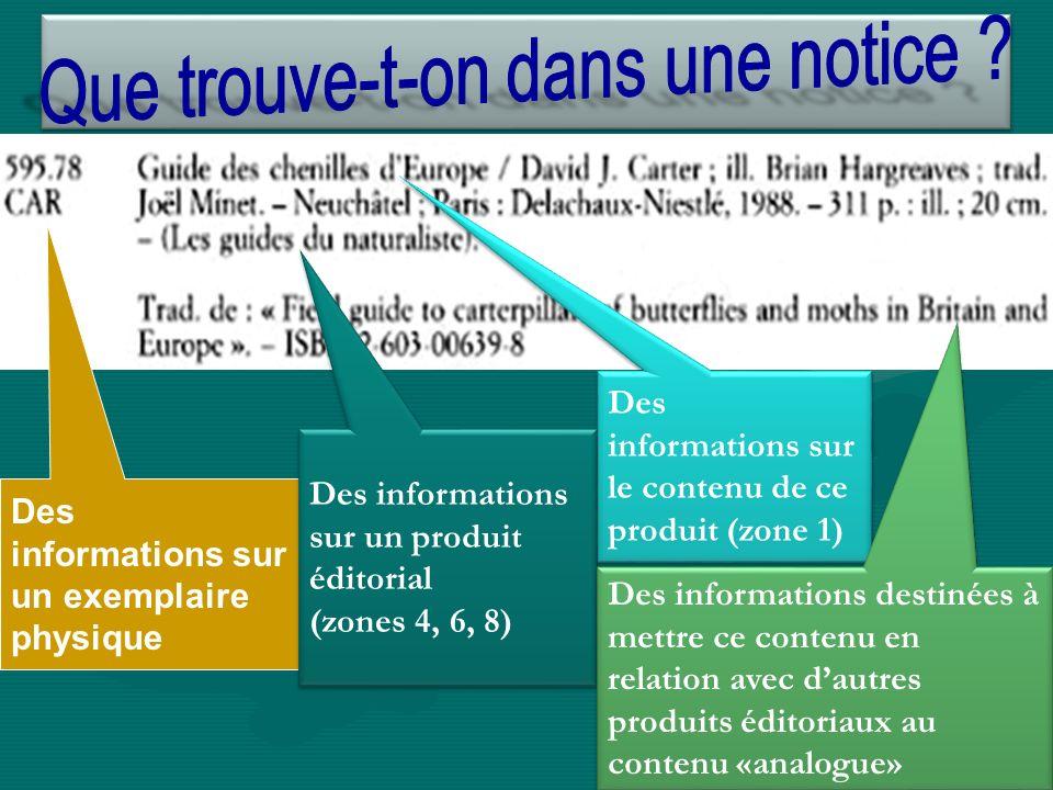 Des informations sur un exemplaire physique Des informations sur un produit éditorial (zones 4, 6, 8) Des informations sur un produit éditorial (zones