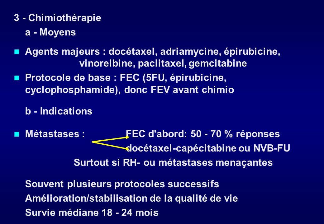 b - Indications Patey : la mastectomie est suivie dune irradiation de la paroi et aires ganglionnaires sus-claviculaires + CMI si:.