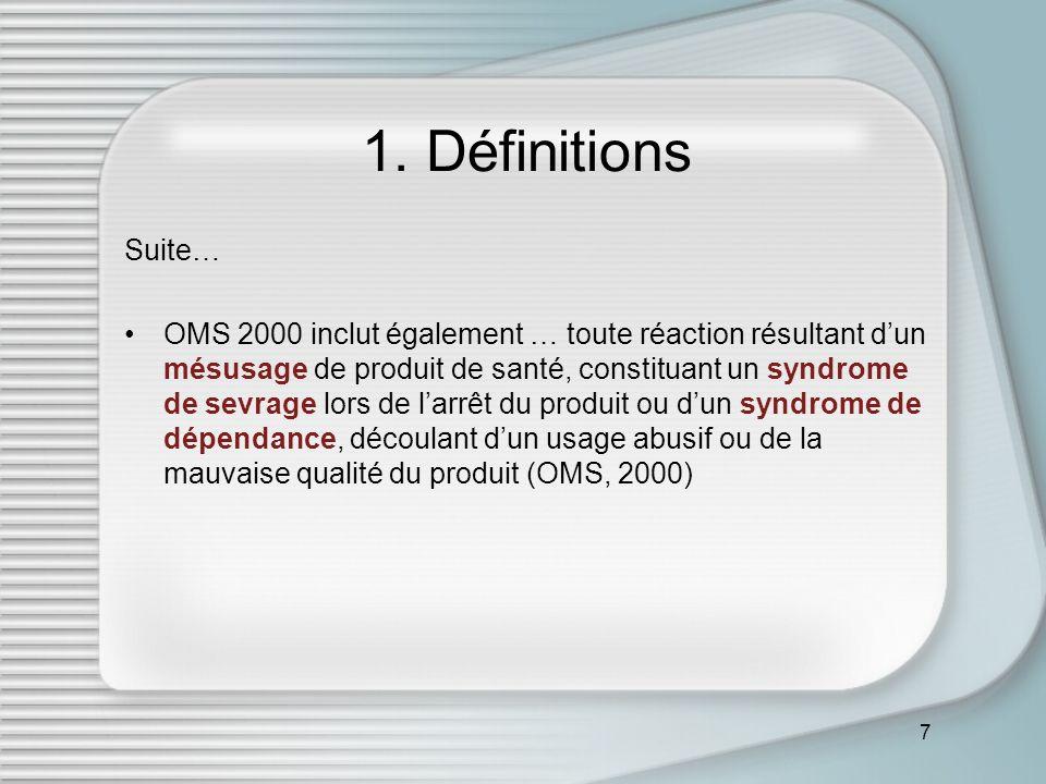 7 1. Définitions Suite… OMS 2000 inclut également … toute réaction résultant dun mésusage de produit de santé, constituant un syndrome de sevrage lors