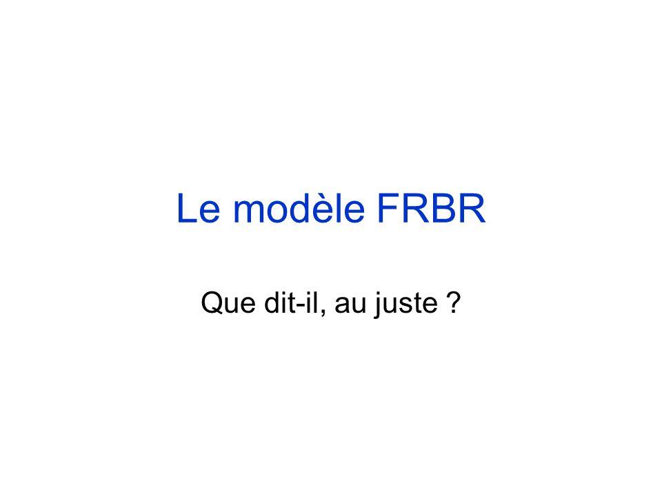 Le modèle FRBR Que dit-il, au juste ?
