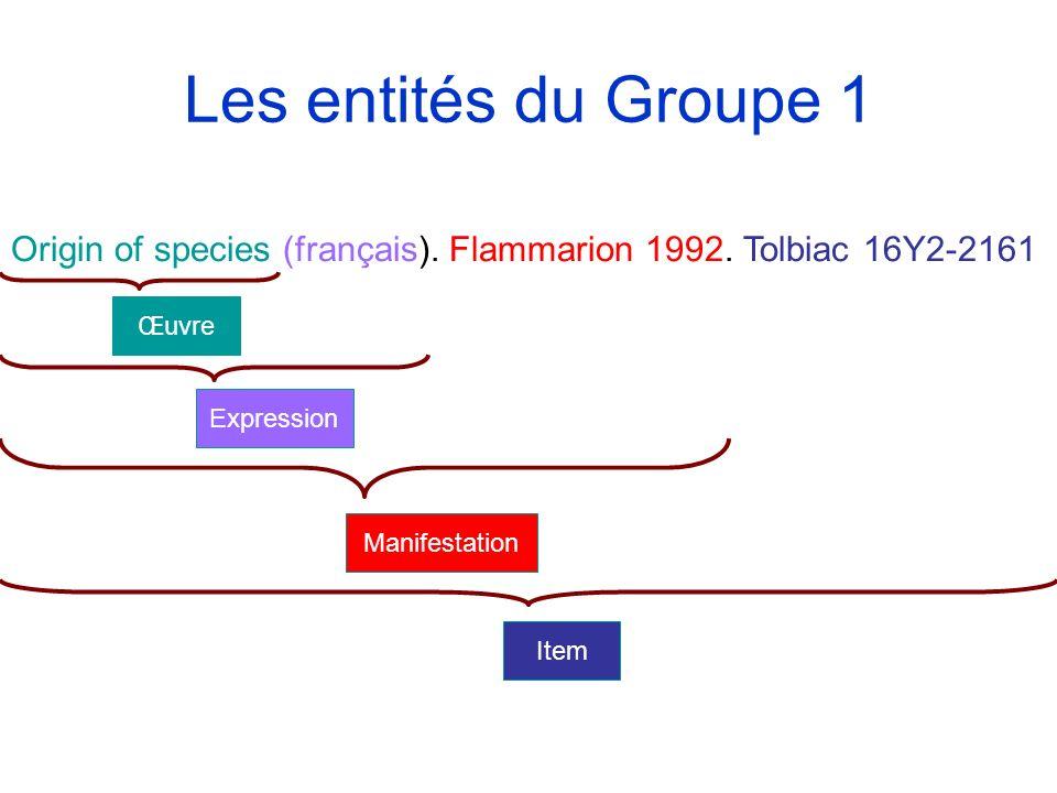 Les entités du Groupe 1 Origin of species (français). Flammarion 1992. Tolbiac 16Y2-2161 Item Manifestation Expression Œuvre