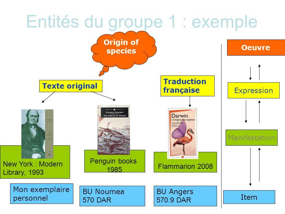 Entités du groupe 1 : exemple New York : Modern Library, 1993 Origin of species Oeuvre Manifestation Texte original Traduction française Expression Mo