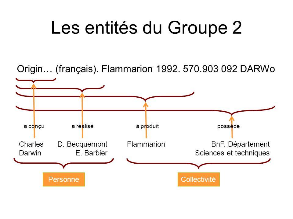 Les entités du Groupe 2 Charles Darwin D. Becquemont E. Barbier FlammarionBnF. Département Sciences et techniques a conçua réaliséa produitpossède Per