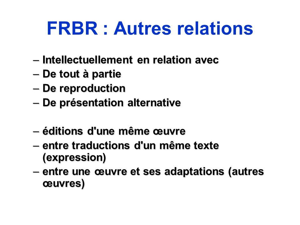 FRBR : Autres relations –Intellectuellement en relation avec –De tout à partie –De reproduction –De présentation alternative –éditions d'une même œuvr