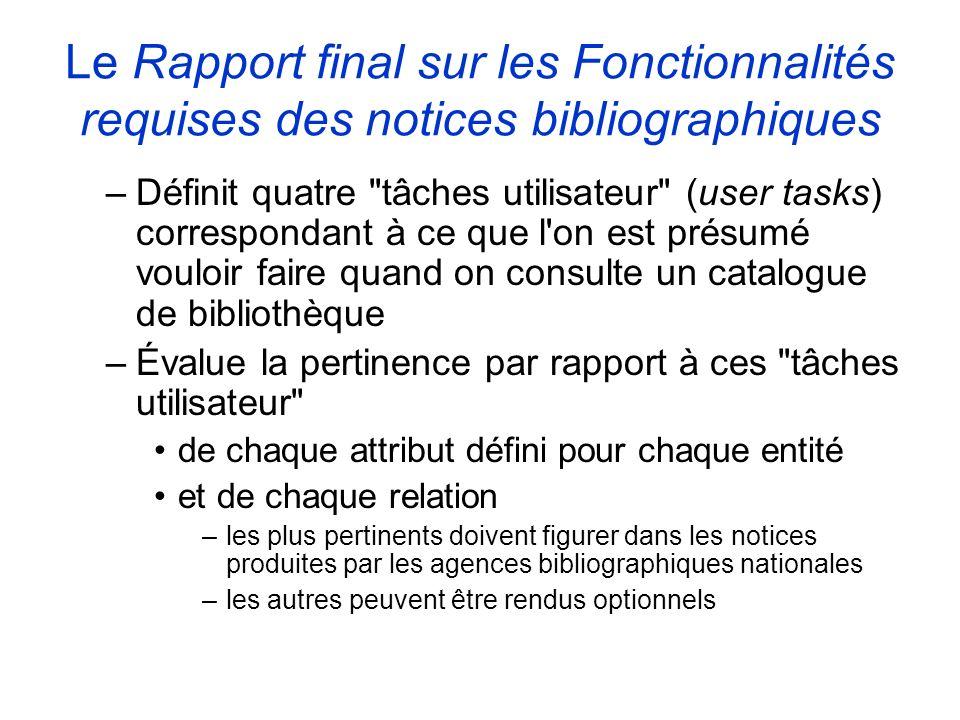 Le Rapport final sur les Fonctionnalités requises des notices bibliographiques –Définit quatre