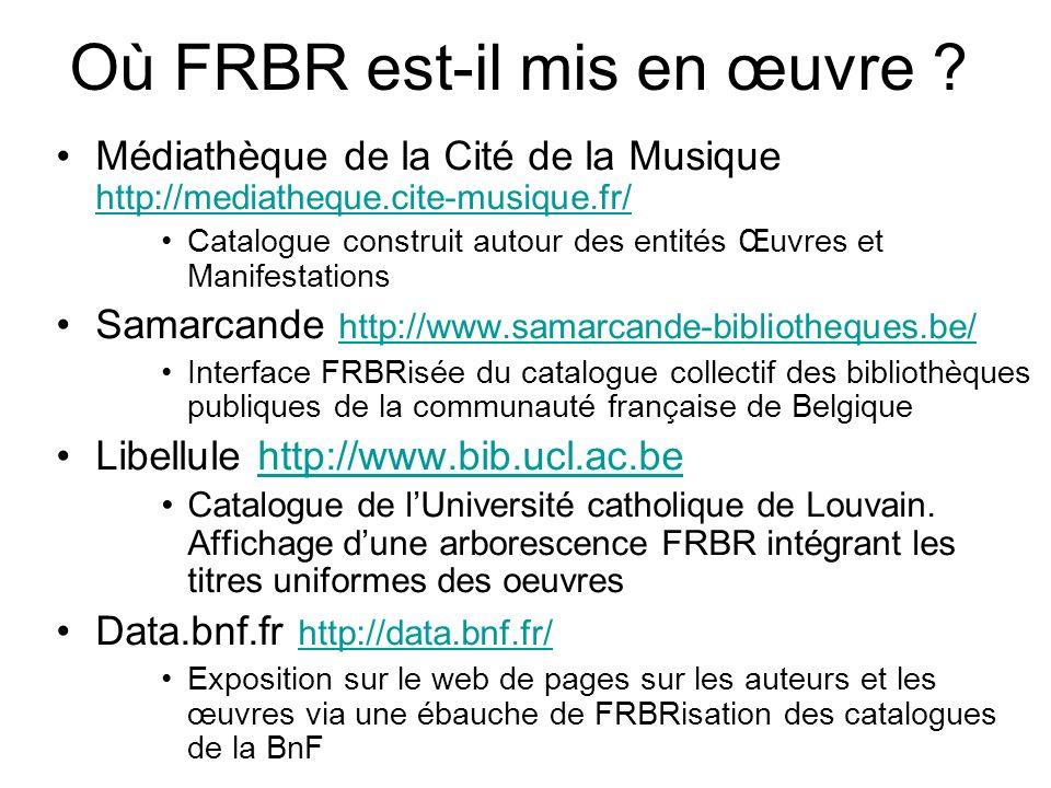 Où FRBR est-il mis en œuvre ? Médiathèque de la Cité de la Musique http://mediatheque.cite-musique.fr/ http://mediatheque.cite-musique.fr/ Catalogue c