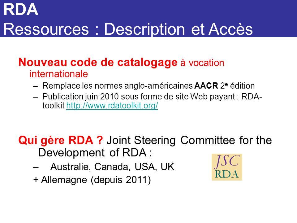 Nouveau code de catalogage à vocation internationale –Remplace les normes anglo-américaines AACR 2 e édition –Publication juin 2010 sous forme de site