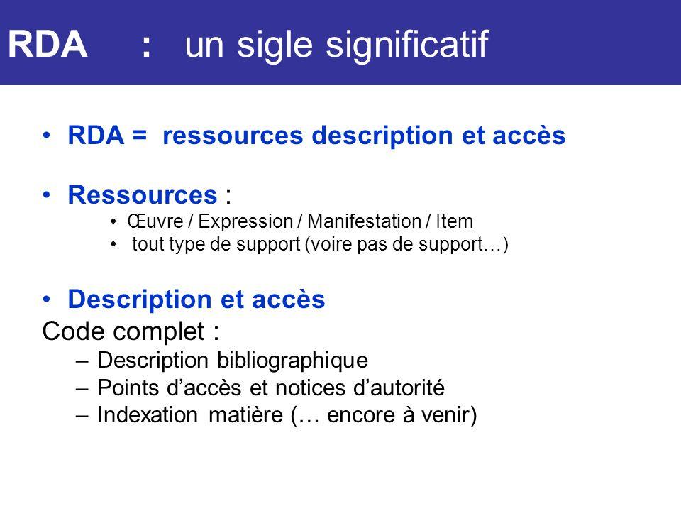 RDA RDA : un sigle significatif RDA = ressources description et accès Ressources : Œuvre / Expression / Manifestation / Item tout type de support (voi