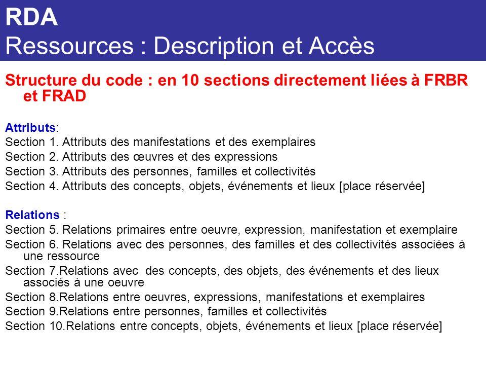 Structure du code : en 10 sections directement liées à FRBR et FRAD Attributs: Section 1. Attributs des manifestations et des exemplaires Section 2. A