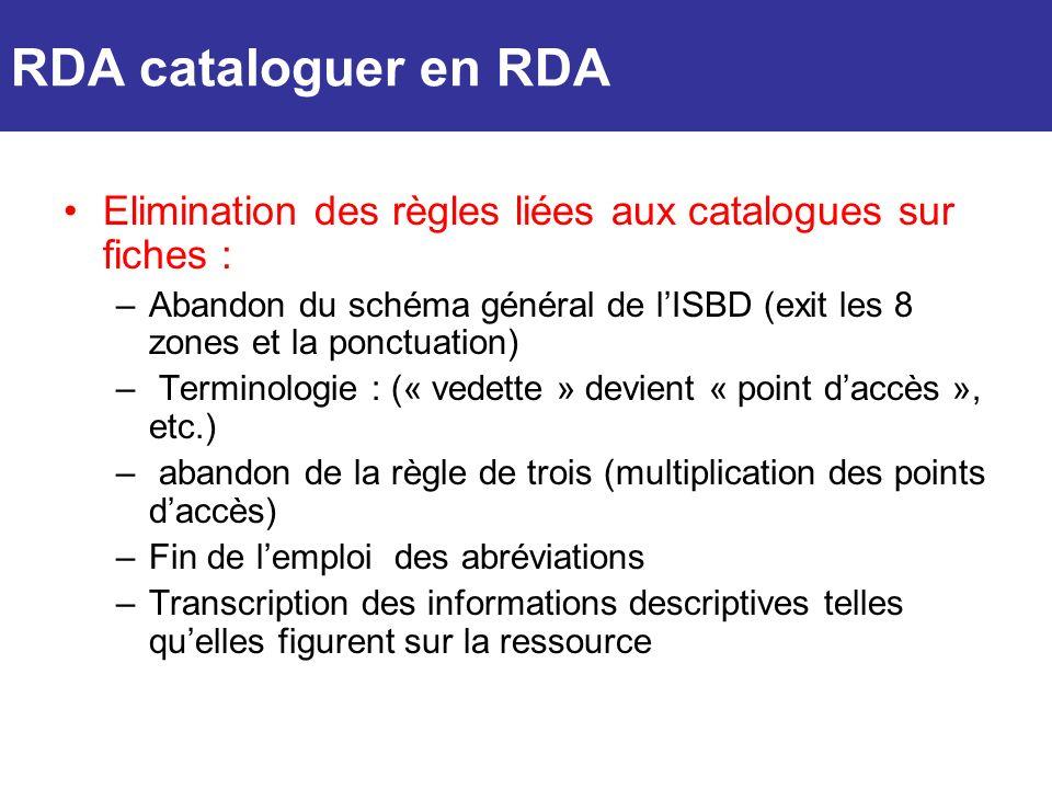 Elimination des règles liées aux catalogues sur fiches : –Abandon du schéma général de lISBD (exit les 8 zones et la ponctuation) – Terminologie : («