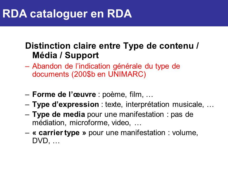 Distinction claire entre Type de contenu / Média / Support –Abandon de lindication générale du type de documents (200$b en UNIMARC) –Forme de lœuvre :