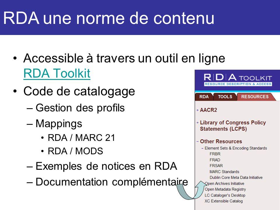 Accessible à travers un outil en ligne RDA Toolkit RDA Toolkit Code de catalogage –Gestion des profils –Mappings RDA / MARC 21 RDA / MODS –Exemples de
