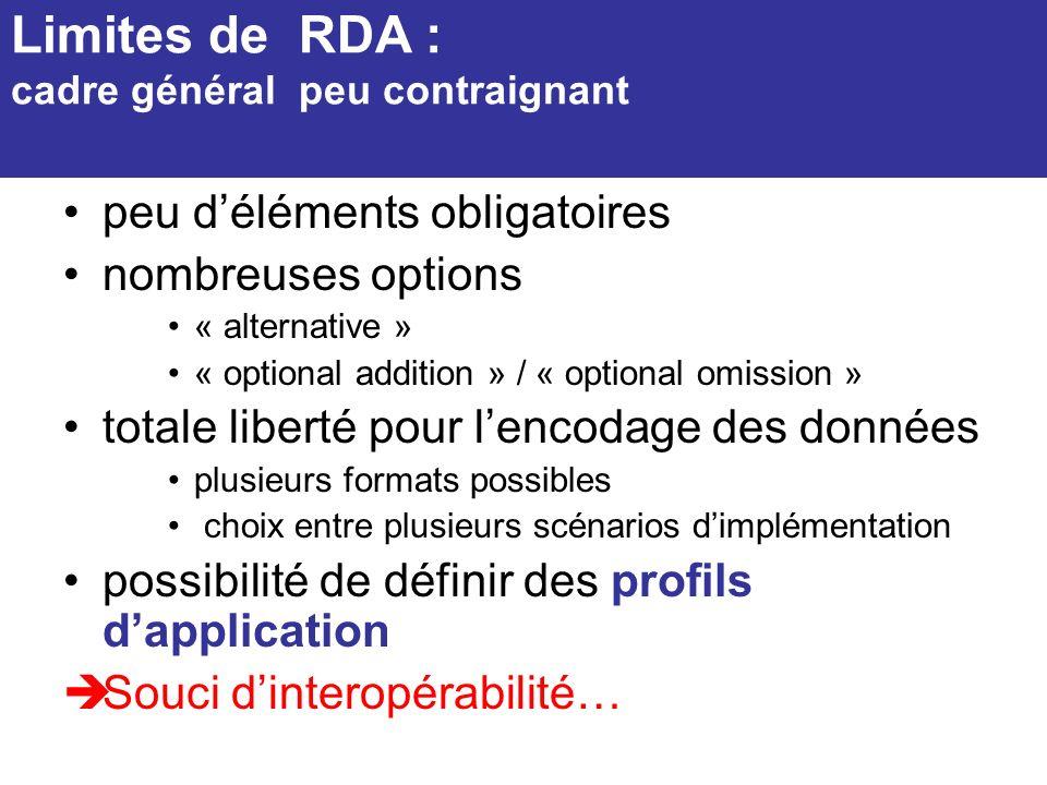 peu déléments obligatoires nombreuses options « alternative » « optional addition » / « optional omission » totale liberté pour lencodage des données