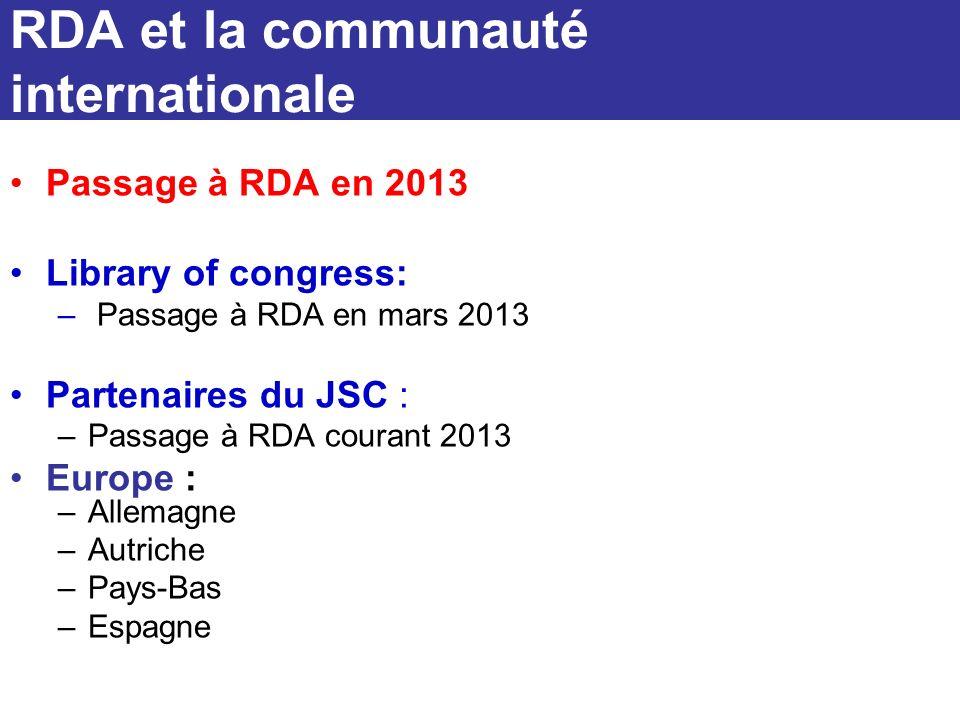 Passage à RDA en 2013 Library of congress: – Passage à RDA en mars 2013 Partenaires du JSC : –Passage à RDA courant 2013 Europe : –Allemagne –Autriche