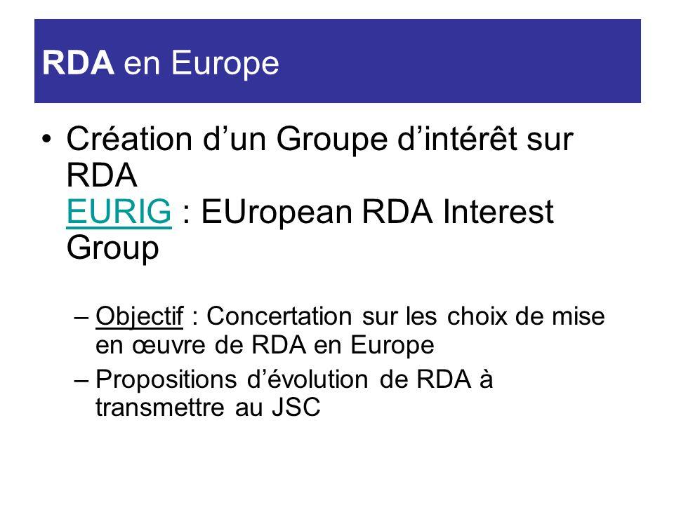 Création dun Groupe dintérêt sur RDA EURIG : EUropean RDA Interest Group EURIG –Objectif : Concertation sur les choix de mise en œuvre de RDA en Europ