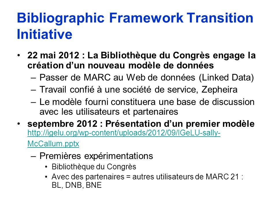 Bibliographic Framework Transition Initiative 22 mai 2012 : La Bibliothèque du Congrès engage la création dun nouveau modèle de données –Passer de MAR